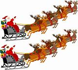 Santa with Sleigh and Reindeer