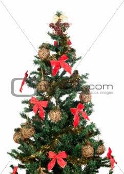 Beautiful Christmas tree with red ribbons and gold balls