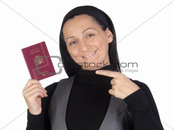 Beautiful and happy woman with a passport