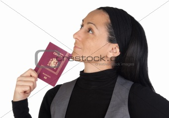 Beautiful woman with a passport thinking