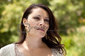 Attractive Hispanic Woman Portait in the Park.
