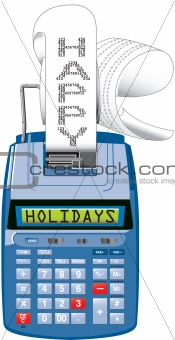 "Adding machine that reads ""Happy Holidays"""