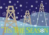 Tis The Season with oil pumps/derricks and snowflakes