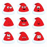 Cartoon santa's hats set with different emotions