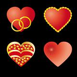 Set of 4 red hearts
