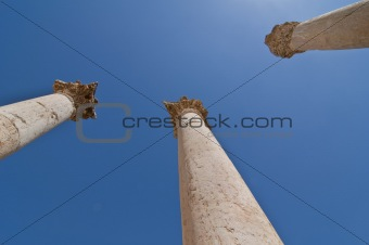 Ancient columns with blue sky