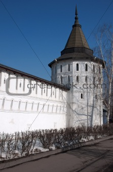 monastery tower and wall