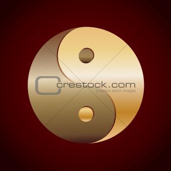 Gold Ying Yang Symbol on background