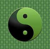Ying Yang Symbol on green background