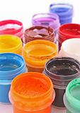 Opened paint buckets colors
