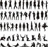 Vector silhouettes women