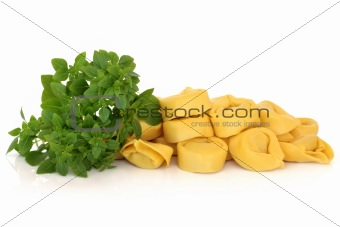 Tortellini Pasta and Basil Herb