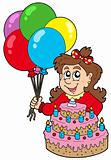 Girl with cake and balloons