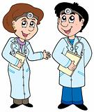 Two cartoon doctors