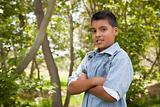 Handsome Young Hispanic Boy Having Fun in the Park.