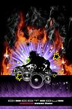 Discoteque Dj Flyer with Real Flames