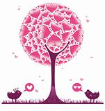 Love tree and birds