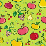 Vector seamless pattern of fruits.