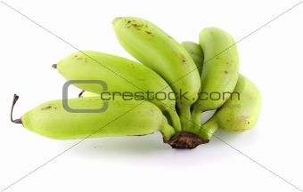 green banana with white background
