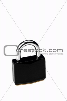 Black padlock on white background