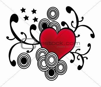 abstract grunge heart symbol