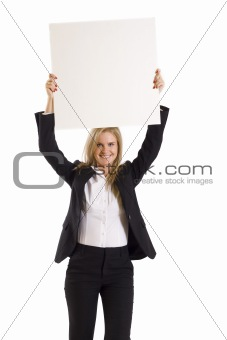 business woman pointing at blank billboard