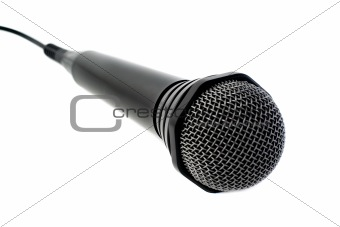 Black microphone. Isolated