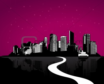 City with reflection. Vector art