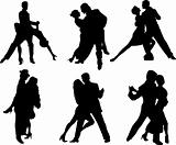 Tango dancers silhouettes