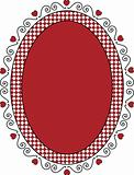 Oval Valentine Frame or Tag With Gingham Trim