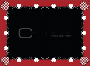 Valentine Frame or Tag With Gingham Hearts