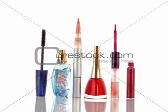 Cosmetics over white background