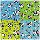 friendly cow seamless pattern.