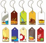 Colorful food tags