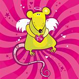 Angel cupid rat card.