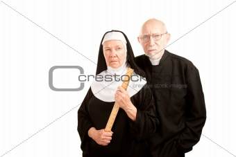 Angry priest and nun