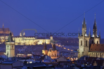 prague - spires of the old town and hradcany castle at dusk