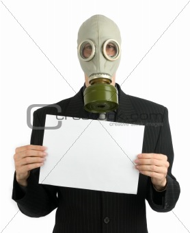 business man in a gas mask with white card