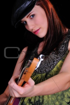 attractive woman with a guitar on white