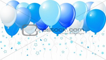 Blue balloons flying up
