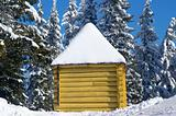 Log cabin in snowy forest