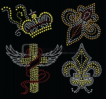 cross and crown beaded graphic
