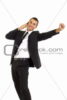 young business man discussing on a cell phone