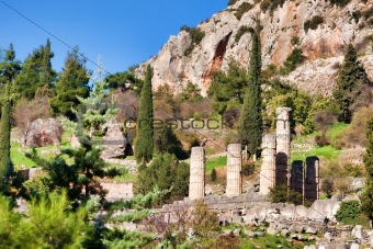 Old ruins of Temple Of Apollo, Delphi, Greece...