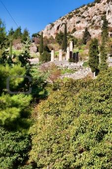 Old ruins of Temple Of Apollo, Delphi, Greece...