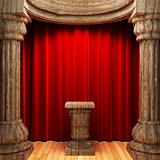 red velvet curtains, wood columns and Pedestal