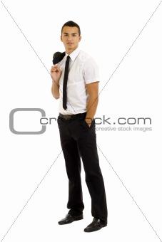 business man with coat over shoulder