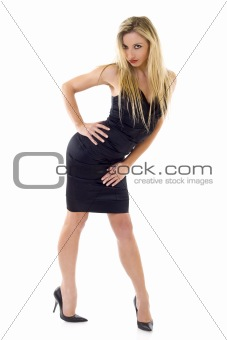Sexy blonde woman in little black dress