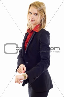 woman pointing at watch and showing time