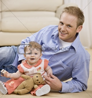 Young Man and Child Smiling